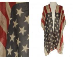 USA Distressed Flag Stars Kimono