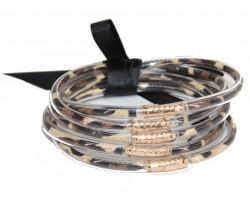 Animal Print Sparkle Rope Bracelet 5pc Set