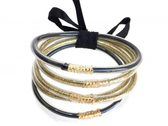 Black Gold Sparkle Rope Bracelet 5pc Set