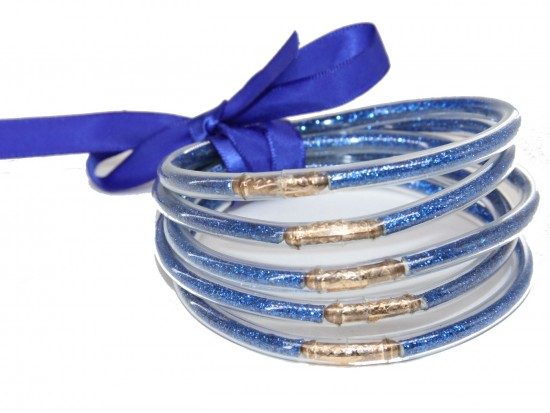 Blue Sparkle Jelly Tube Bracelet 5pc Set