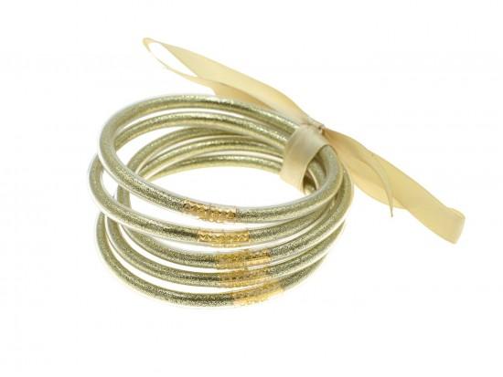 Gold Sparkle Jelly Tube Bracelet 5pc Set