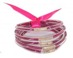 Pink Sparkle Jelly Tube Bracelet 5pc Set