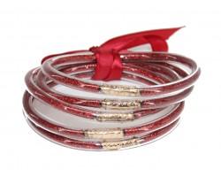 Red Sparkle Jelly Tube Bracelet 5pc Set