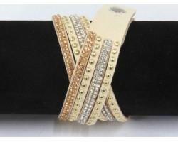 Beige Leather Crystal Wrap Bracelet