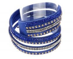 Blue Leather Crystal Wrap Bracelet