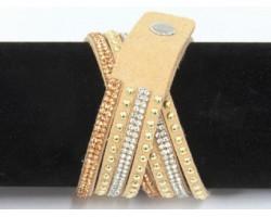 Golden Leather Crystal Wrap Bracelet