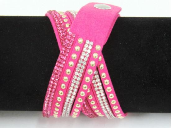 Hot Pink Leather Crystal Wrap Bracelet