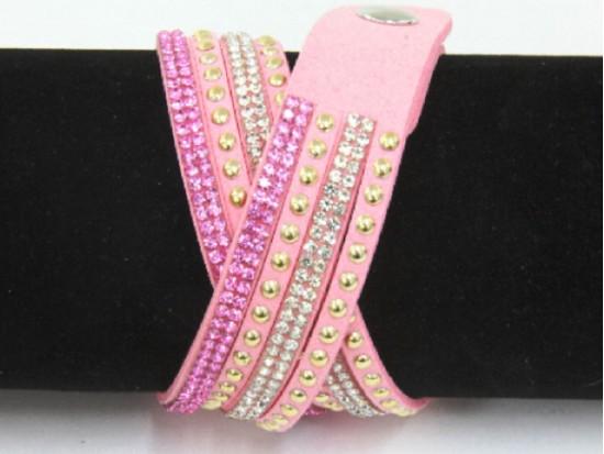 Pink Leather Crystal Wrap Bracelet