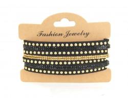 Black Gold Crystal Leather Wrap Bracelet