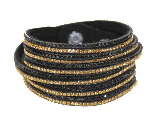 Black Gold Leather Crystal Wrap Bracelet