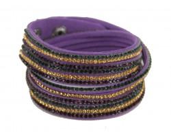Mardi Gras Leather Crystal Wrap Bracelet
