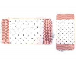 Red Anchors White Flat Wallet