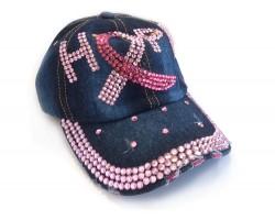 Pink Crystal Hope Cancer Blue Denim Baseball Cap