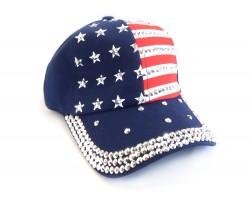 American Flag Cloth Crystal Baseball Cap