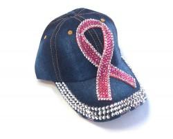 Pink Crystal Large Cancer Ribbon Denim Baseball Cap