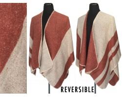 Maroon Beige Fleece Weave Stripe Ruana Poncho