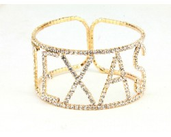 Gold Texas Clear Crystal Memory Wire Bracelet