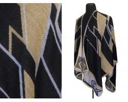 Black Gold Tribal Design Ruana Poncho