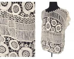 White Weave Crochet Short Sleeve Shirt Top