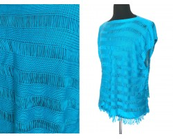 Turquoise Loose Weave Knit Top