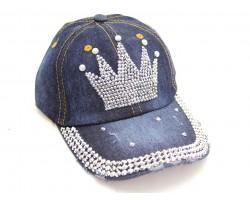 Crystal Crown Dark Blue Denim Ball Cap