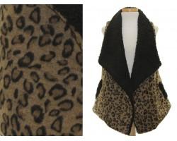 Brown Leopard Fur Sleeveless Vest