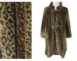 Brown Leopard Button Fur Poncho
