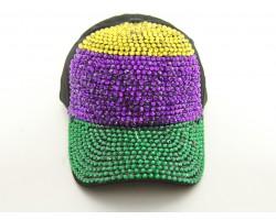 Mardi Gras Crystal Horiz Stripe Black Ball Cap