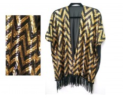 Black Gold Sequin Chevron Fringe Vest Top