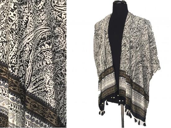 Black Floral Pattern Tassel Kimono
