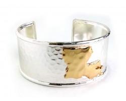 Silver Gold Louisiana Map Cuff Bangle