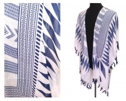 Navy White Tribal Pattern Tassel Kimono.