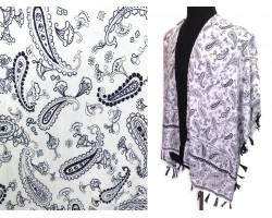 White Navy Paisley Pattern Tassel Kimono