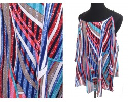 Turquoise Multi Abstract Cold Shoulder Cami Top