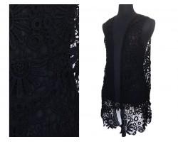 Black Crochet Floral Sleeveless Cardigan
