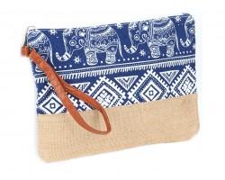 Blue Boho Elephant Print Jute Bag