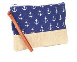Blue Anchor Print Jute Bag