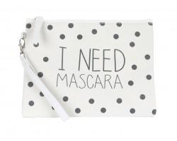 Beige I Need Mascara Print Canvas Bag Accessory