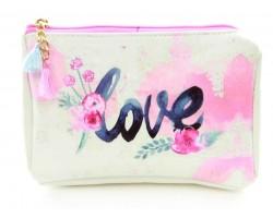 Pink Love Flower Vinyl Bag Accessory