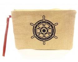Navy Ship Steering Wheel Print Jute Bag