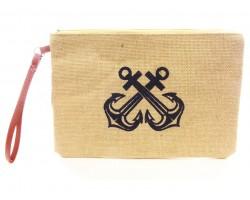 Navy Double Anchor Print Jute Bag