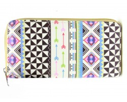 Multi Arrows Tribal Print Vinyl Clutch Wallet