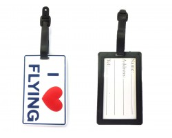 White I Love Flying Silicon Luggage Tag