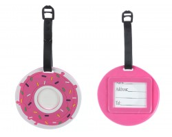 Pink Doughnut With Sprinkles Silicon Luggage Tag