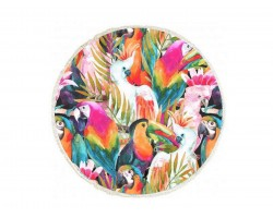 Multi Tropical Parrot Birds Round Beach Blanket