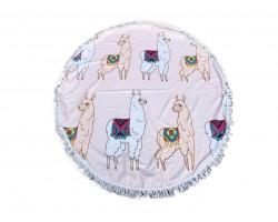 Multi Llama Round Beach Blanket