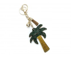 Green Leaves Gold Palm Tree Puffy Key Chain