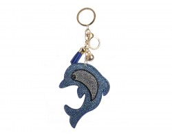 Light Blue Dolphin Puffy Tassel Keychain