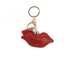 Red Lips Tassel Puffy Key Chain