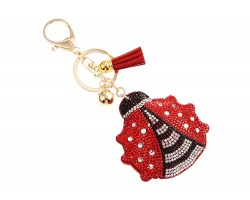 Red Ladybug Crystal Puffy Tassel Key Chain